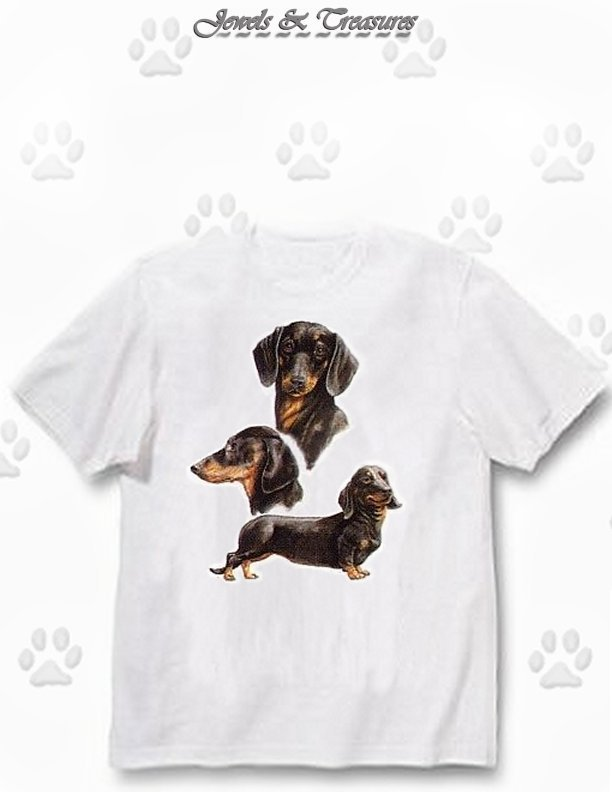 Dachshund, Black - T Shirt - Collage