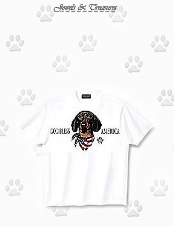 Dachshund, Black - T Shirt - God Bless America