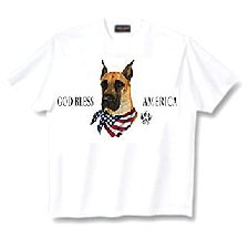 Great Dane, Cropped - T Shirt - God Bless America