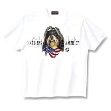 Shih Tzu, Black - T Shirt - God Bless America
